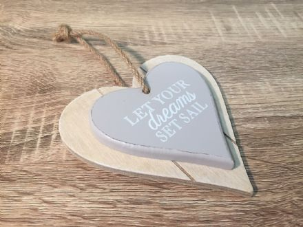 Let Your Dreams Set Sail  ~ Chunky Wood Hanging Heart Plaque